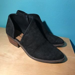 Black suede booties from Lucky Brand